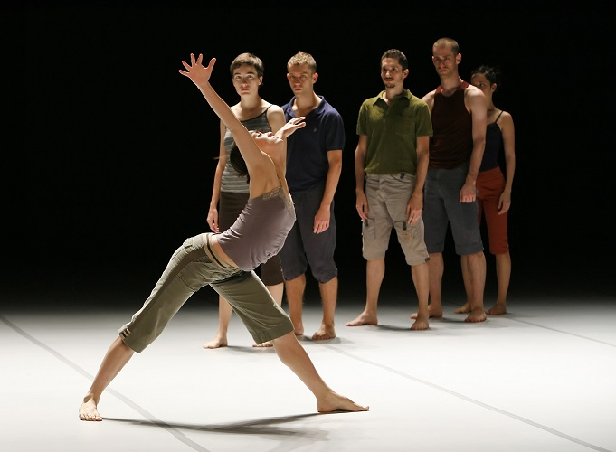 "Photo: BATSHEVA DANCE COMPANY performing ""THREE""; Choreography by Ohad Naharin; Dress Rehearsal of selected segments photographed: Tuesday, November 13, 2007; 4:00 PM at BAM Howard Gillman Opera House, Brooklyn, New York. Photograph © 2007 Richard Termine  PHOTO CREDIT-- Richard Termine/BAM Pictured: in front: Rachael Osbourne"