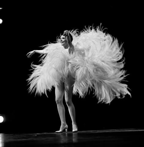 11/15/1968. Zizi JEANMAIRE in a performance outfit made of feathers, singing MON TRUC EN PLUME and dancing onstage at the Olympia. Zizi JEANMAIRE en tenue de scène avec des plumes, chante MON TRUC EN PLUME et danse sur la scène de l'OLYMPIA à Paris, le 15 Novembre 1968.